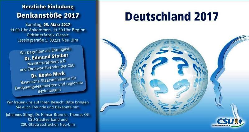 Denkanstöße 2017 – Dr. Edmund Stoiber in Neu-Ulm